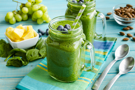Kale smoothie, green fresh smoothie, green smoothie in a mason jar