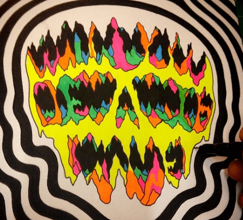 trippy skull drawing
