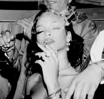 Rihanna smoking a blunt