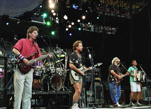 Grateful dead playing a concert in 1992