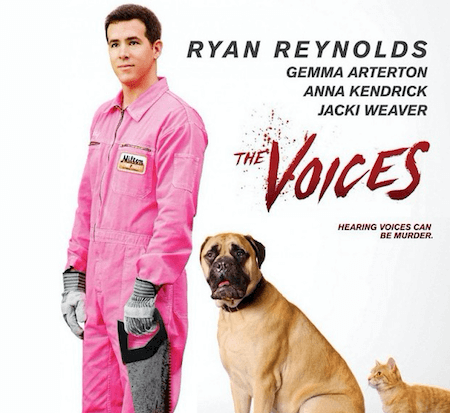 Ryan reynolds holding a saw with a dog and cat