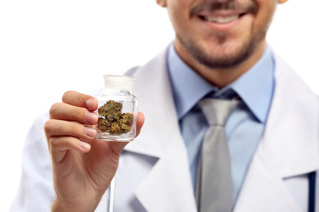 doctor holding marijuana prescription