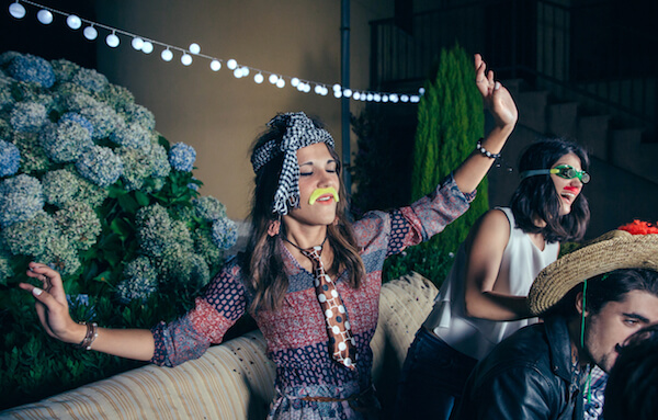 Women dressed up in costume at a party