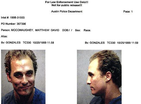 Matthew McConaughey arrested for weed