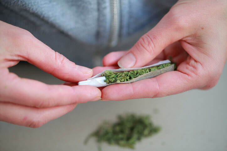 Someone's hands rolling up a marijuana joint.