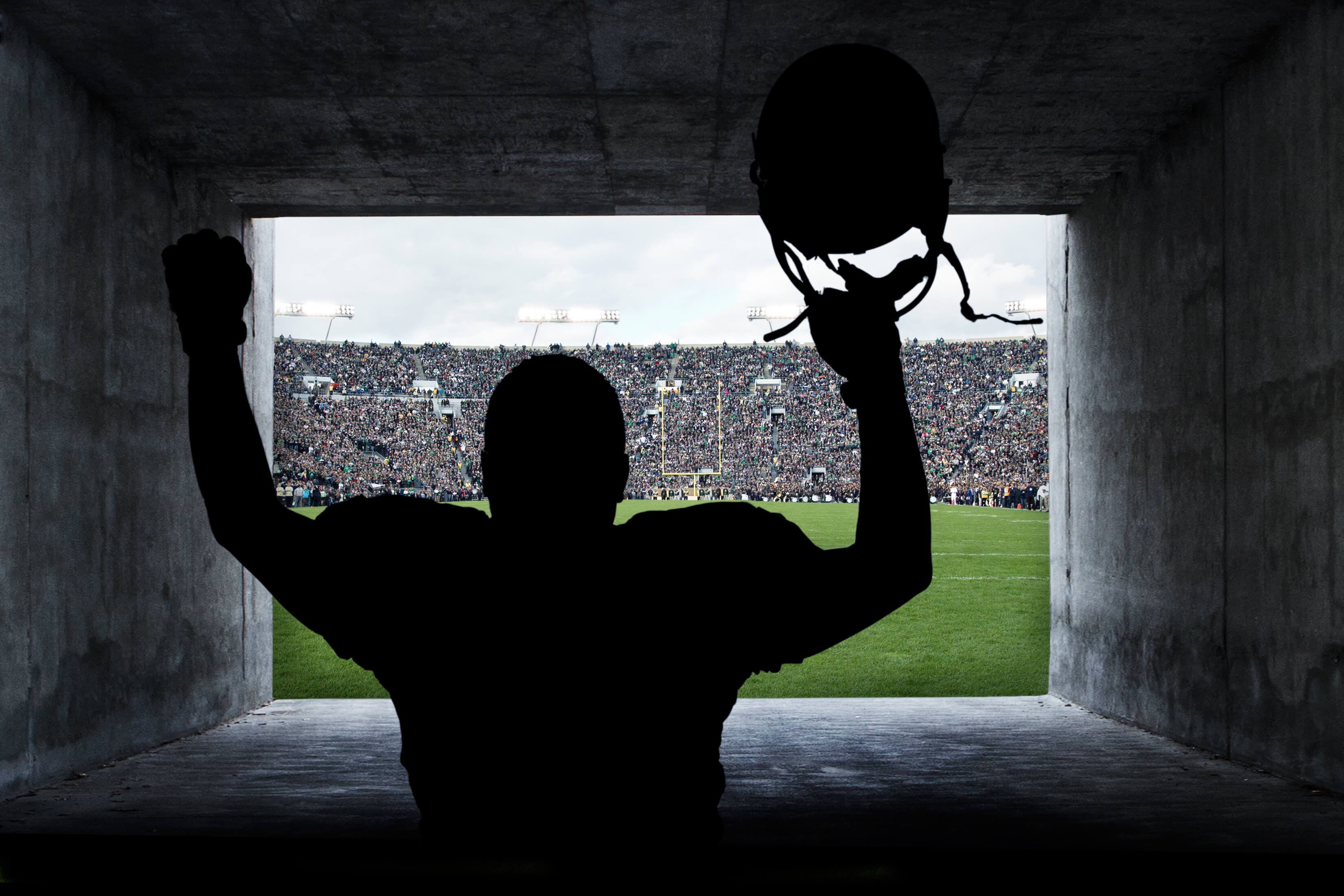Football player entering the field.