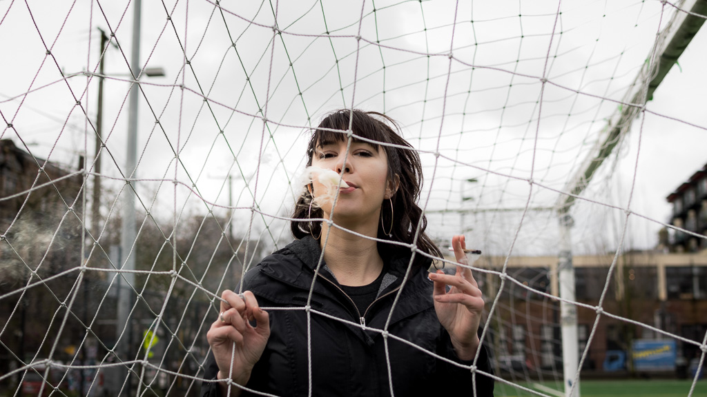 Abigail Ross from Push Magazine smoking a joint