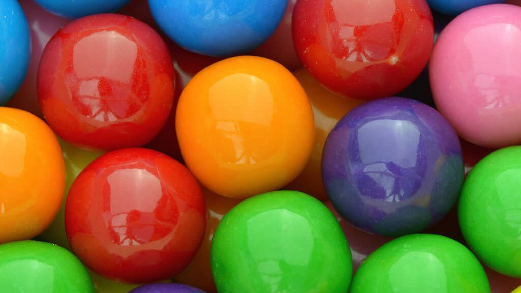 Close up shot of gumballs