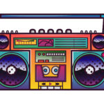 Colorful 90's boombox