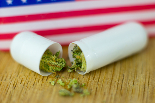 Pill with cannabis in it, American flag