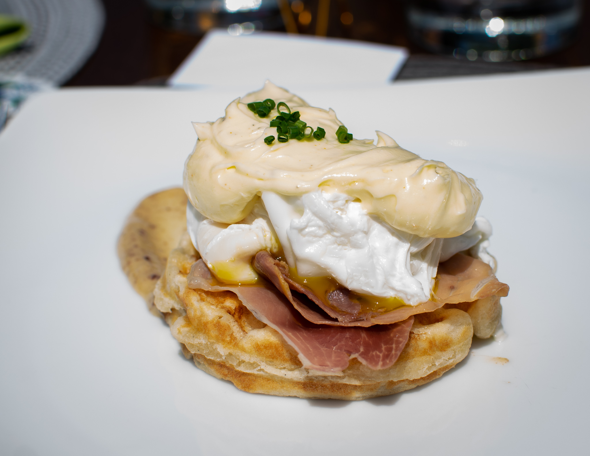 Eggs Benedict with Prosciutto on a Petit Waffle