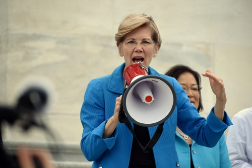 Senator Elizabeth Warren giving a speech