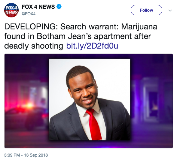Fox News reported that cannabis was found in Jean's apartment