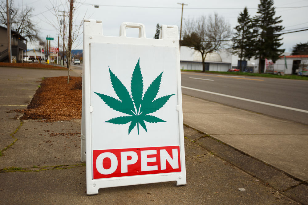 marijuana dispensary open sign