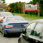 Cars line up for United States border