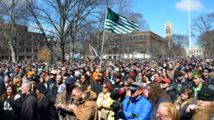 Ann Arbor, MI, USA - April 5, 2014: A crowd attends the 43rd annual Hash Bash rally in Ann Arbor, MI April 5, 2014.