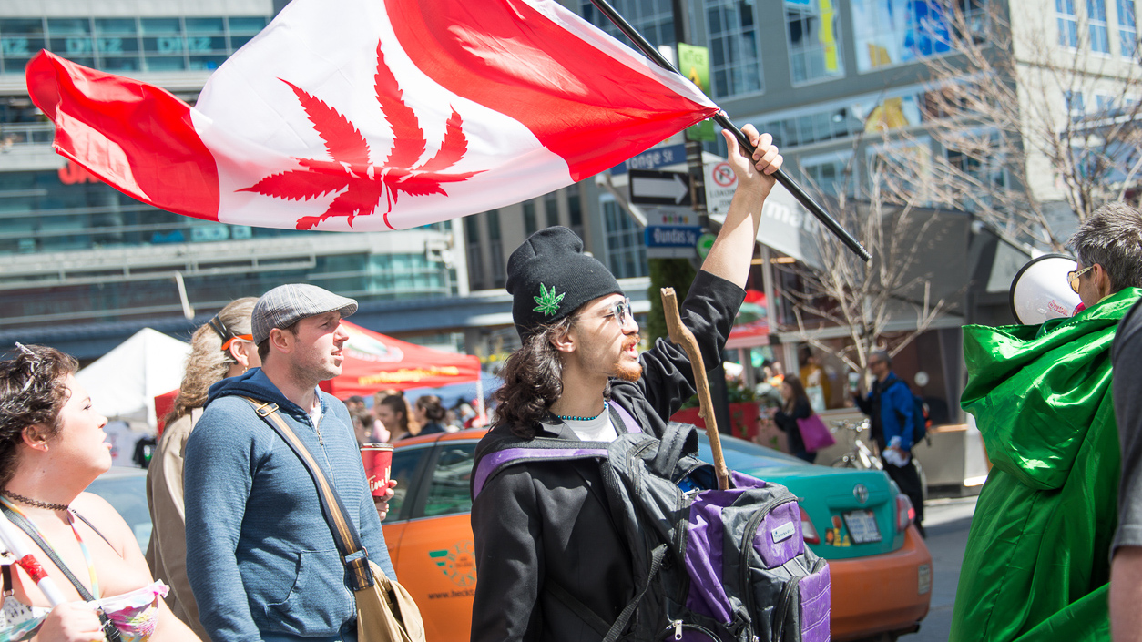 Toronto,Canada- April 20, 2016: Hundreds attend Toronto 420 pot rally at Yonge-Dundas Square. Organizers say that this weekâ??s annual pot protest will be transformed into a celebration now that the federal government has vowed to legalize weed