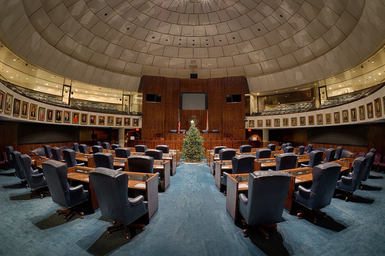 Tallahassee, Florida, USA - December 5, 2014: Empty Senate chamber decorated for the holidays during the legislative out of session period in the Florida State Capitol