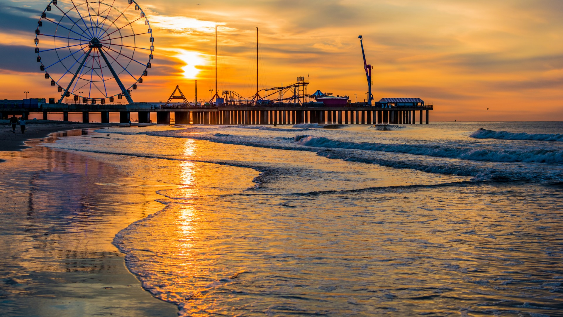 Sunset over the pier in Atlantic City