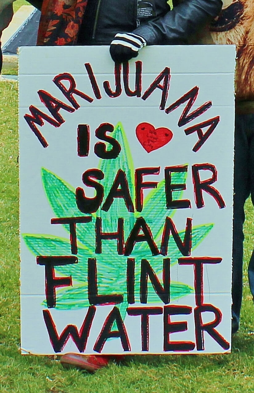 lansing, Michigan USA - March 22, 2016: A protest sign during the #StopTheRaids rally in Lansing reminds everyone that medical marijuana use is safer than drinking the water in Flint, Michigan. Flint, approx. one hour east of Lansing, has been featured in international news for the dangerous levels of lead in city-provided water and the health consequences to residents; marijuana is not known to have caused any deaths due to overdose.