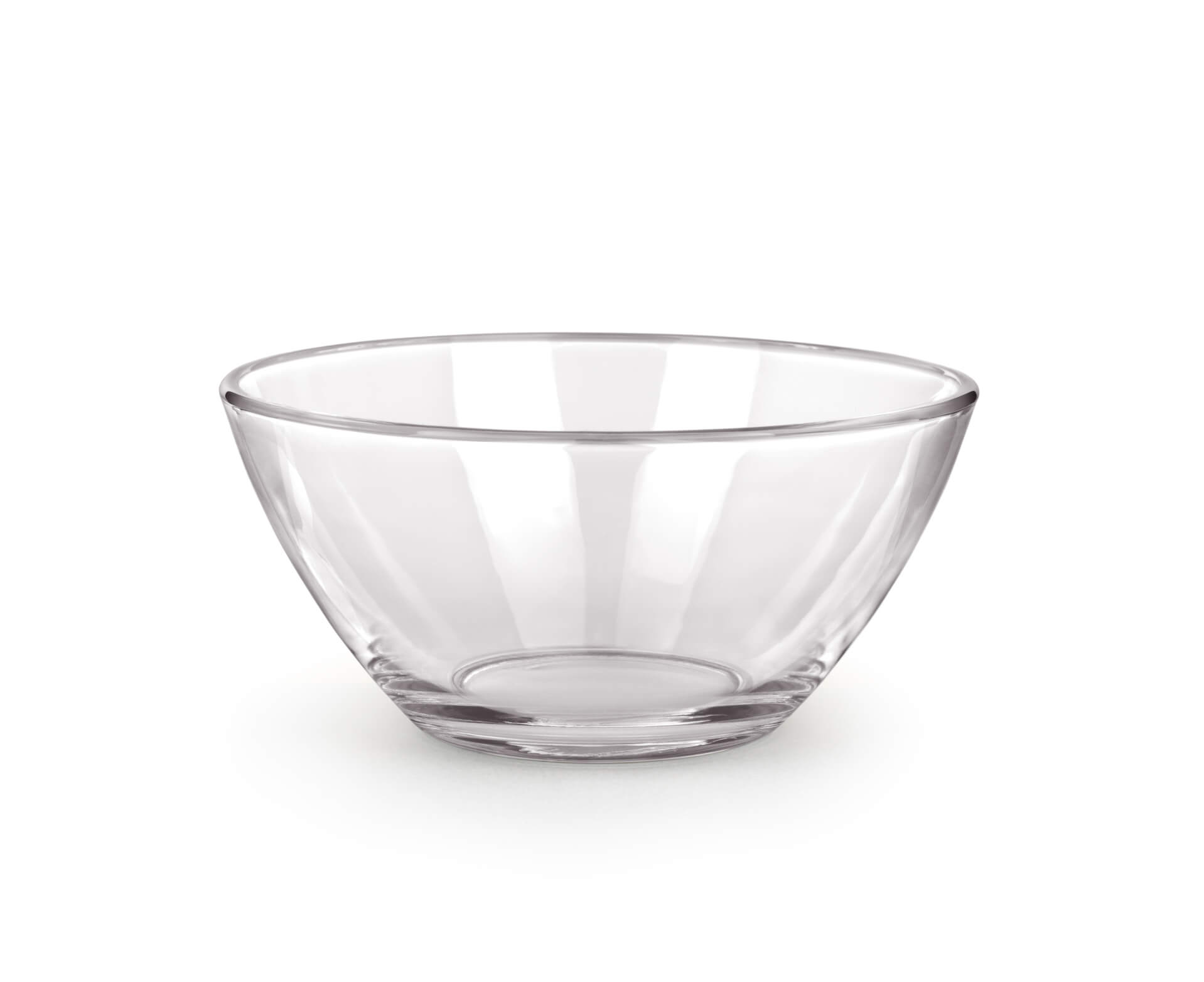 Empty glass bowl isolated on a white background.