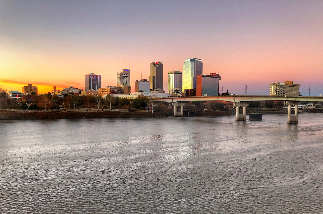 A December Sunrise Paints the Little Rock Skyline in Magnificent Hues of Pink, Yellow, & Blues.
