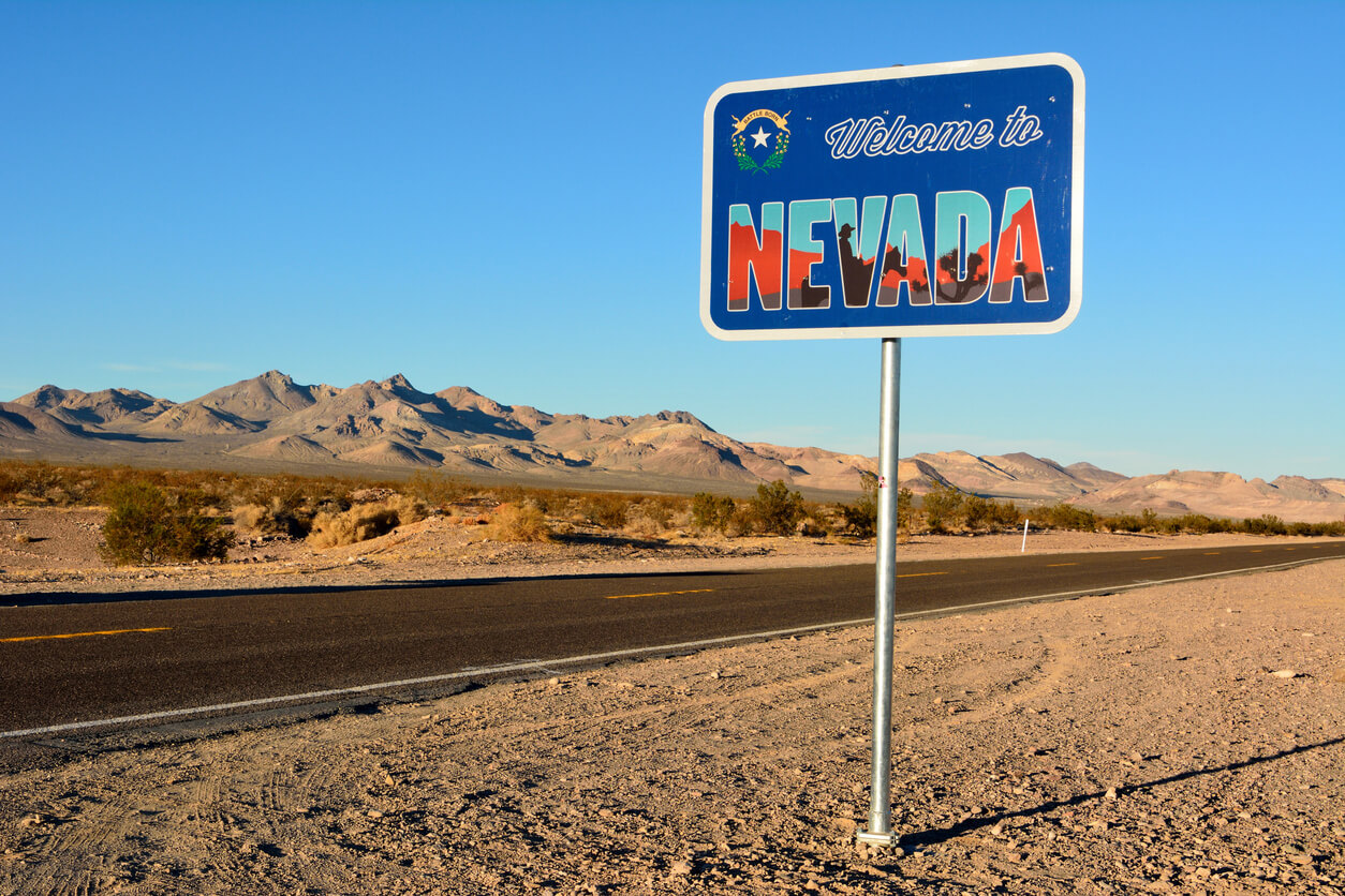 Beatty, Nevada, United States of America - November 23, 2017. Welcome to Nevada road sign along a highway.