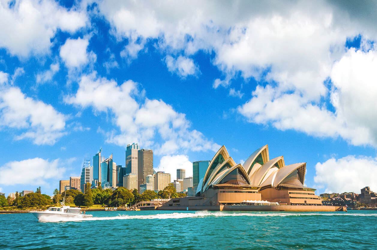 The city skyline of Sydney, Australia. Circular Quay and Opera House.