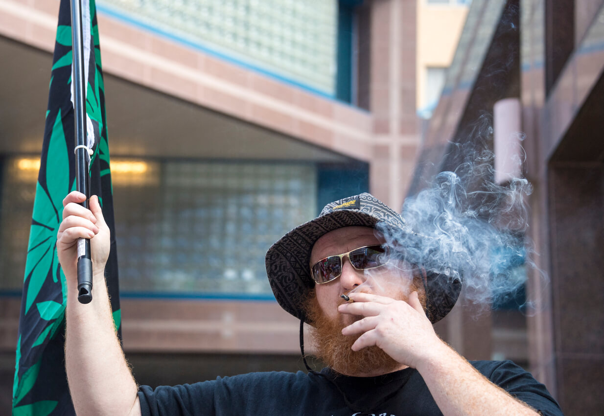 Cannabis advocate smoking a joint