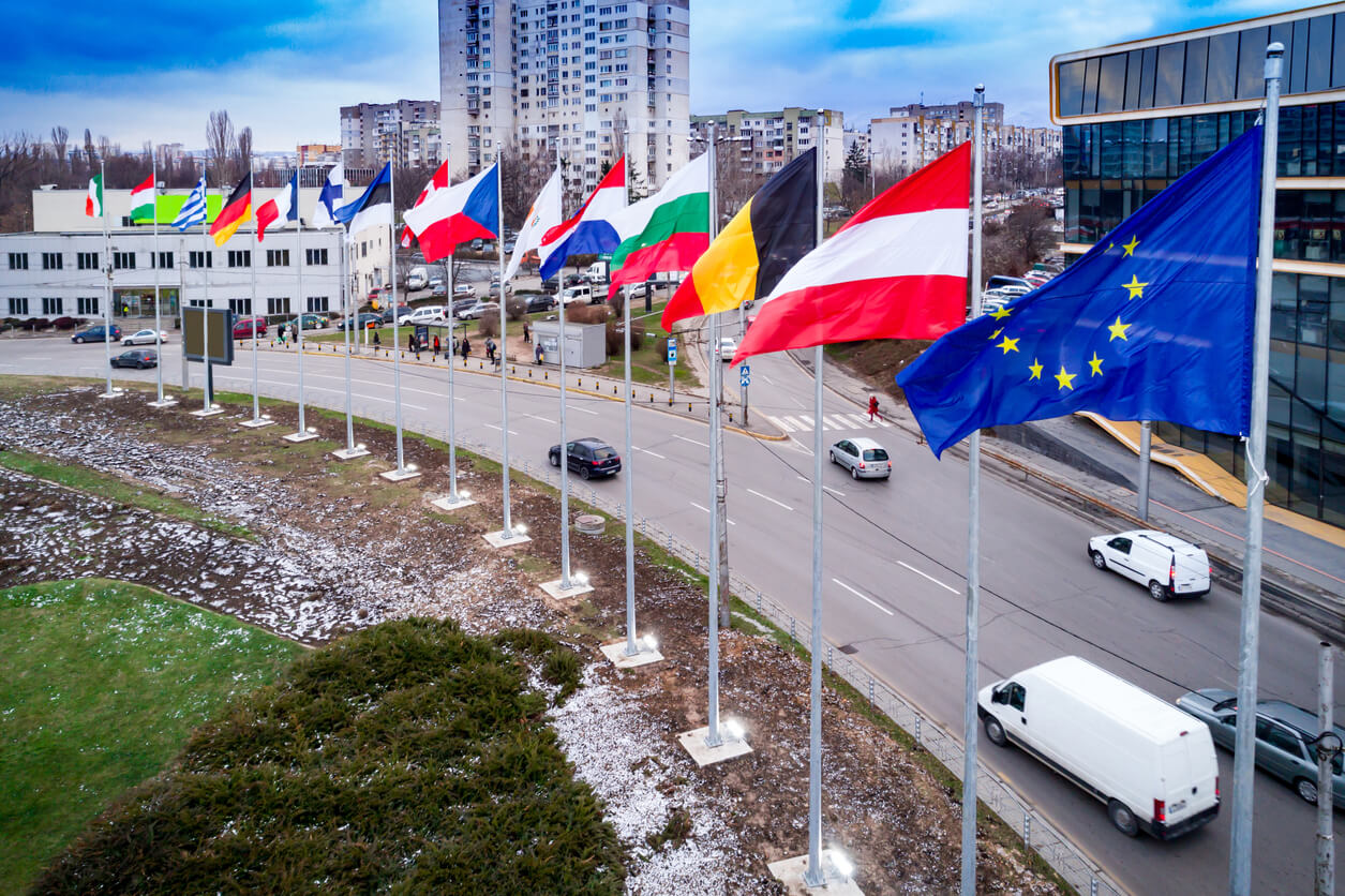 Drone shot aerial view of waving european union flags located in a roundabout traffic circle. The scene is located in Sofia, Bulgaria (Eastern Europe). The picture is taken with DJI Phantom 4 Pro drone / quadcopter.