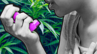 Woman using her inhaler with a cannabis background.