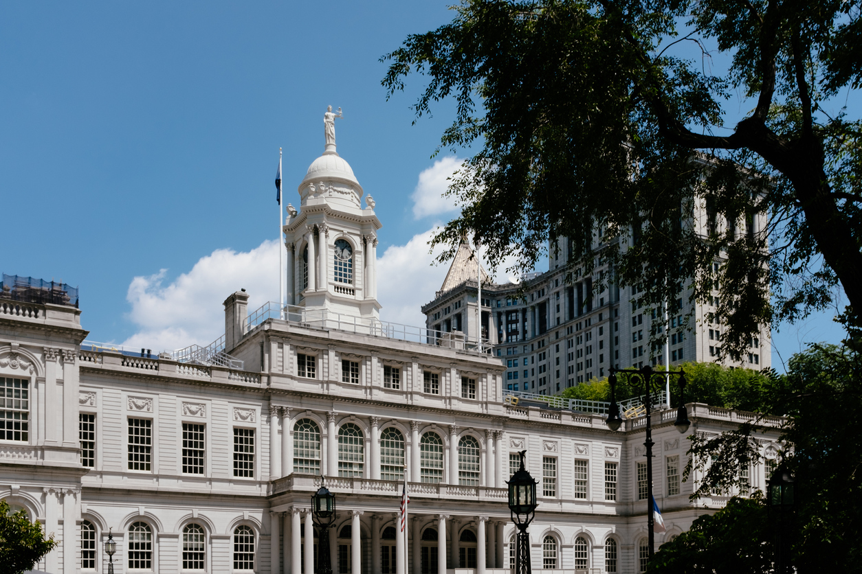 View of New York City Hall and Manhattan Municipal Building in lower Manhattan, New York City, USA