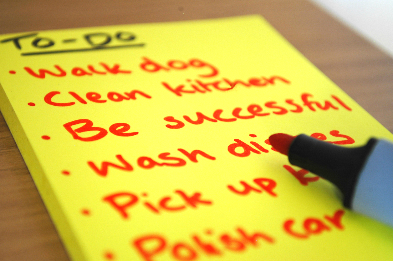 """Be successful"" written on a to-do list"