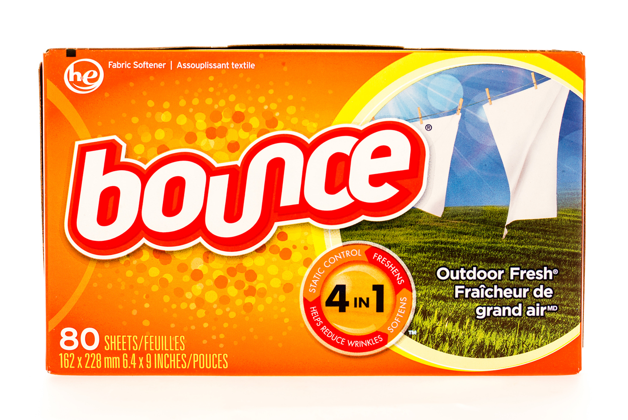 Winneconne, WI, USA - 6 August 2015: Box of Bounce fabric softner sheets.