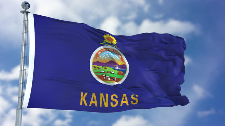 Kansas (U.S. state) flag waving against clear blue sky, close up, isolated with clipping path mask luma channel, perfect for film, news, composition