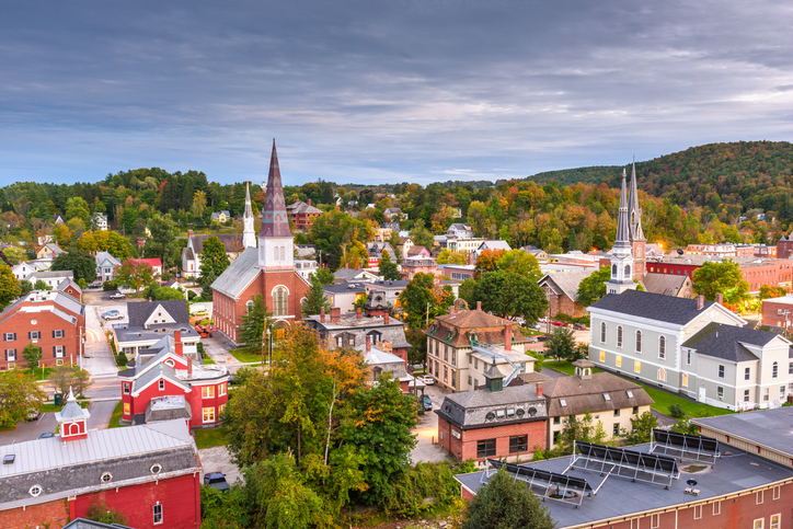 Montpelier, Vermont, USA town skyline at dusk.