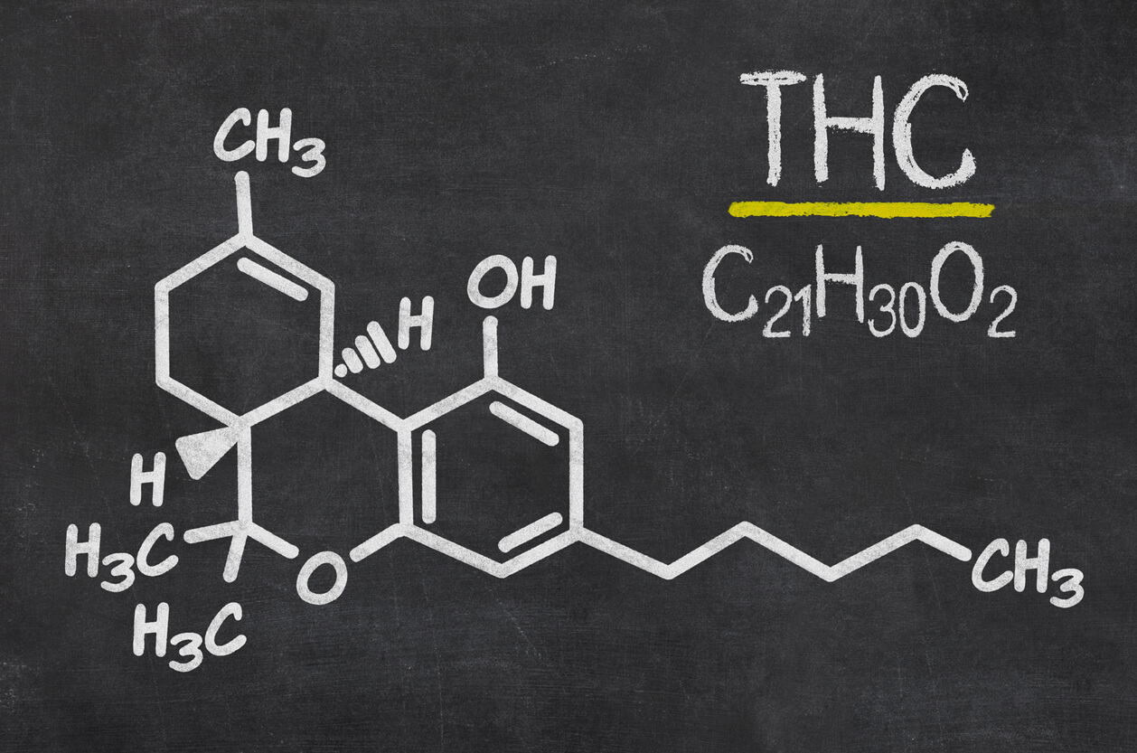 Blackboard with the chemical formula of THC