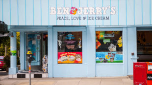 """""""San Francisco, USA - May 27, 2011: Ben + Jerry's ice-cream shop in the famous Haight-Ashbury district in San Francisco during daytime. No people present in the photo"""""""