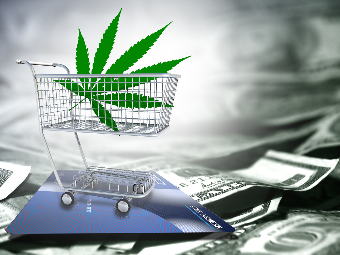 Marijuana leaf in a cart. US dollars and credit card.