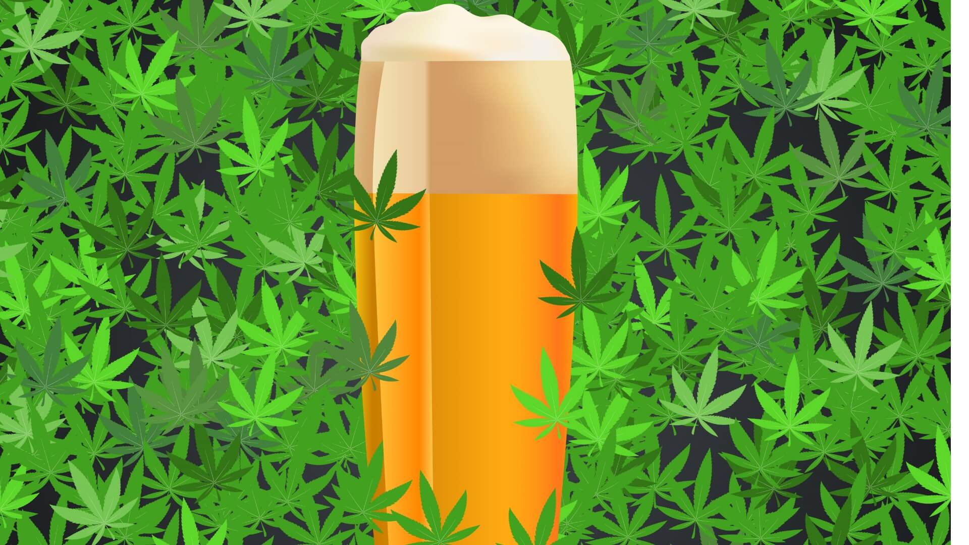 beer on cannabis leaves
