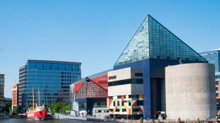 Baltimore, Maryland/USA - May 24, 2018: National Aquarium and Baltimore Maritime Museum Building Exterior View From Patapsco River