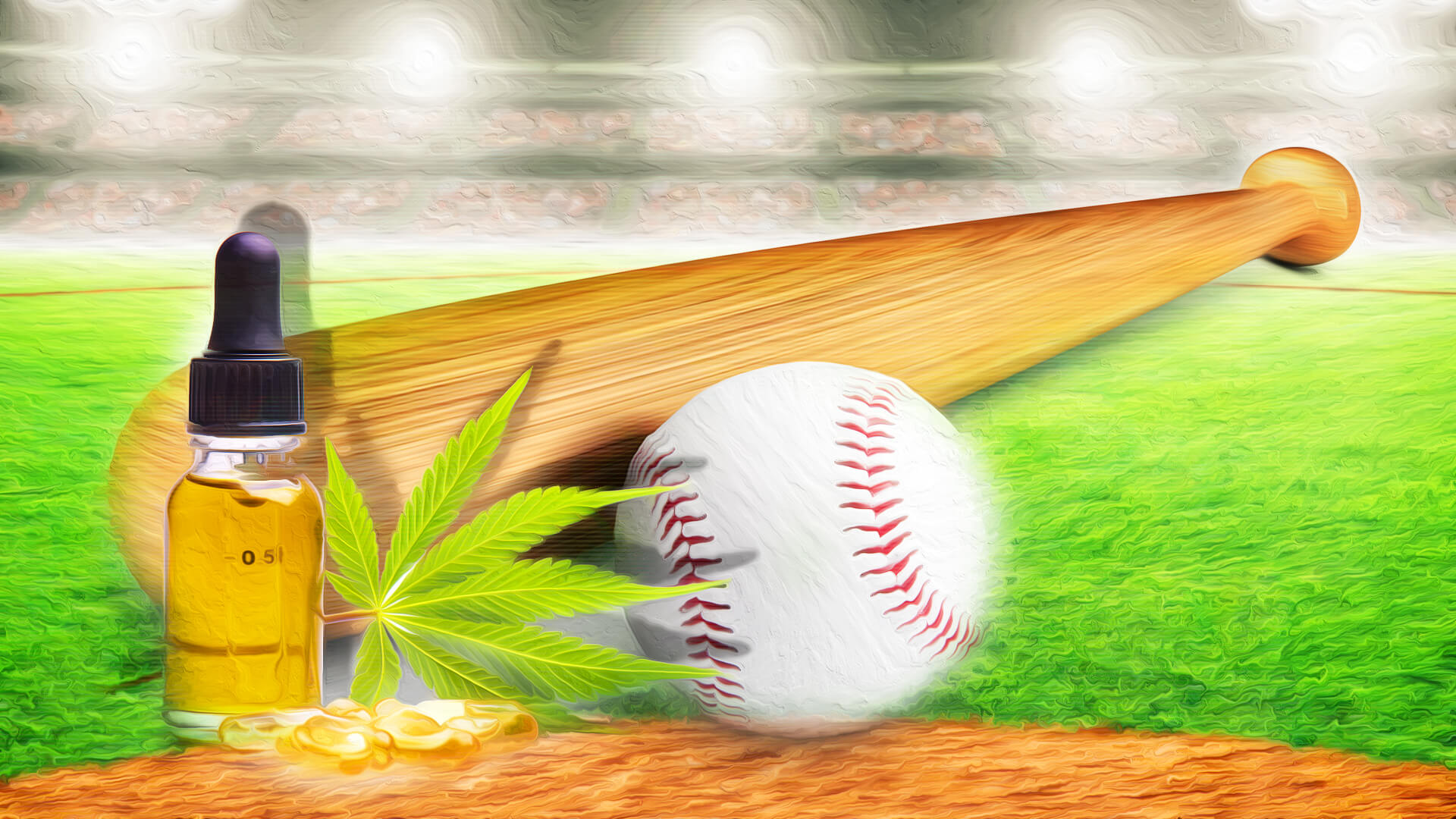 a Baseball, bat and cannabis leaf.
