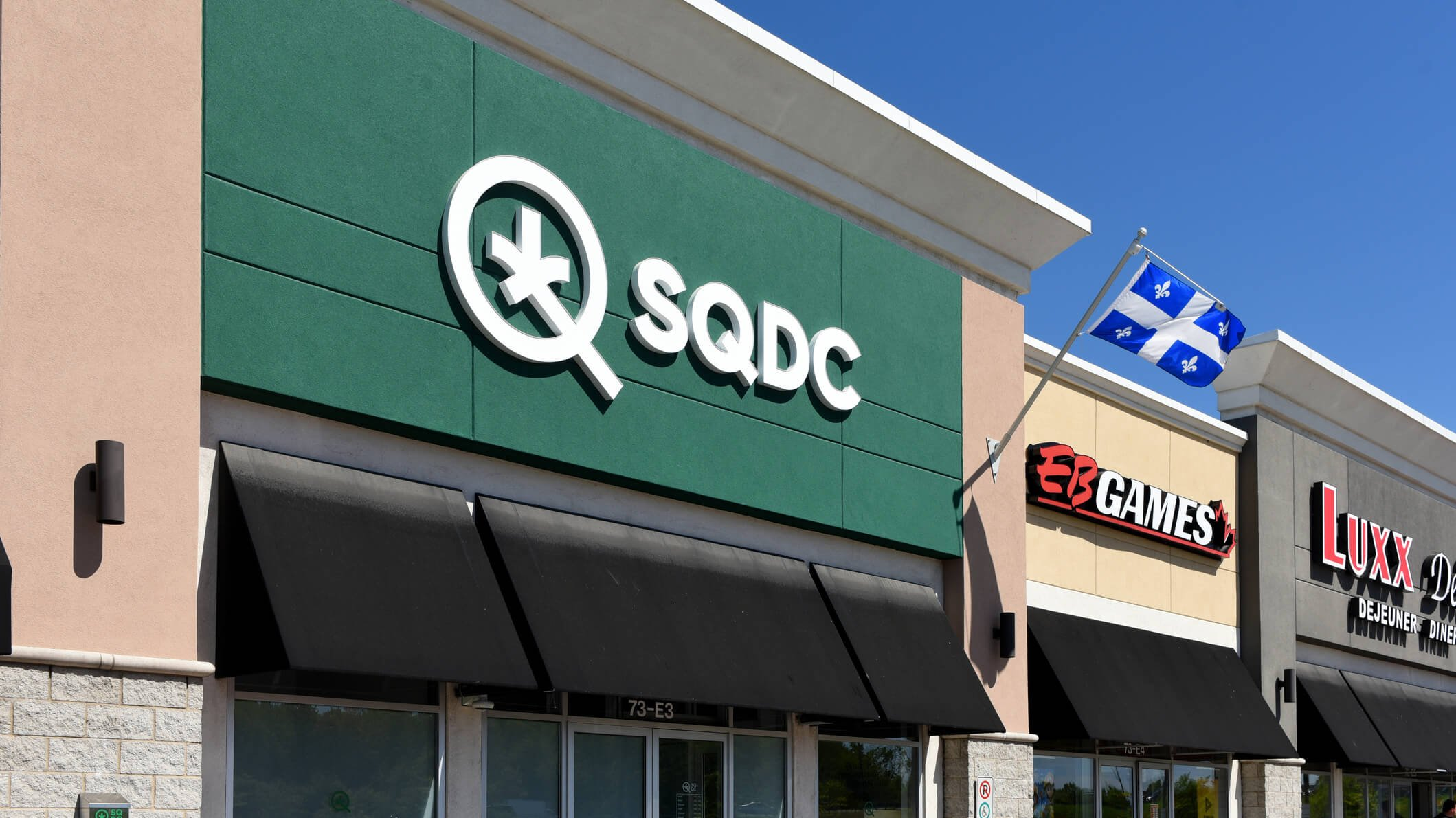 Gatineau, Quebec, Canada - June 8. 2019: Quebec Cannabis Corporation (SDQC) store in a strip mall on Boulevard de la Gappe. The provincially owned corporation is responsible for the sale of recreational cannabis in the province has been in operation since cannabis became legal in Canada in 2018.