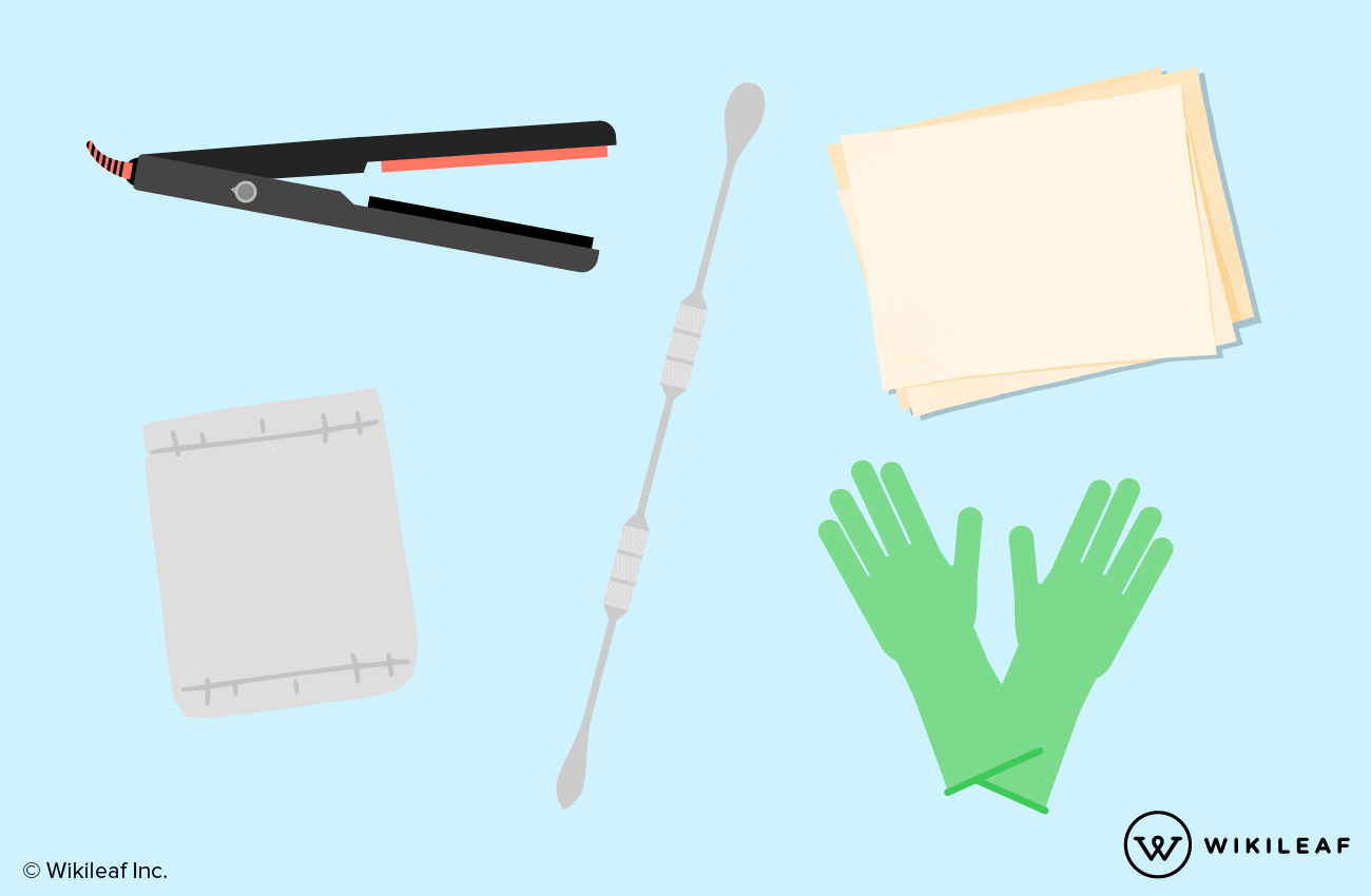 hair straightener, parchment paper, a micron filter bag, a collection tool, and heat-resistant gloves