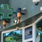 San Francisco, CA AUGUST 31, 2019: Green cross for a dispensary location in California for sale for of cannabis