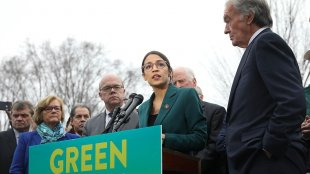 Rep. Alexandria Ocasio-Cortez at the Green New Deal Presser in 2019