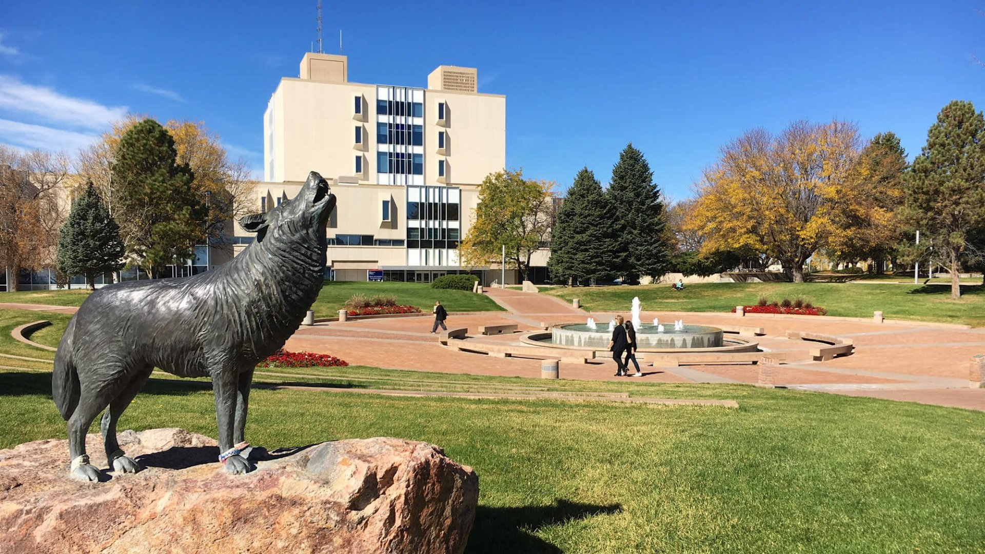 Colorado State University, Pueblo, CO with students walking in the background