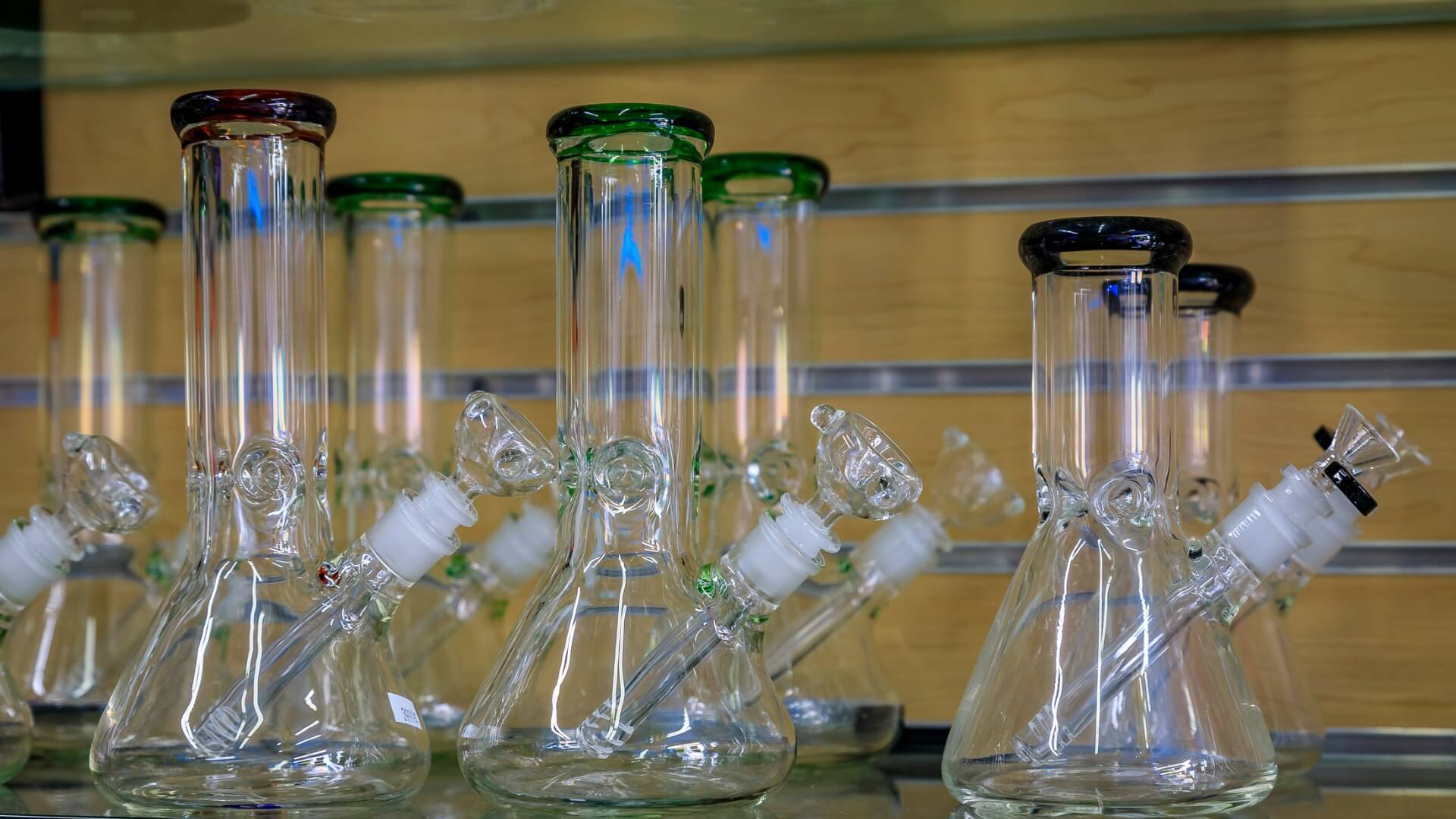 rows of glass bongs