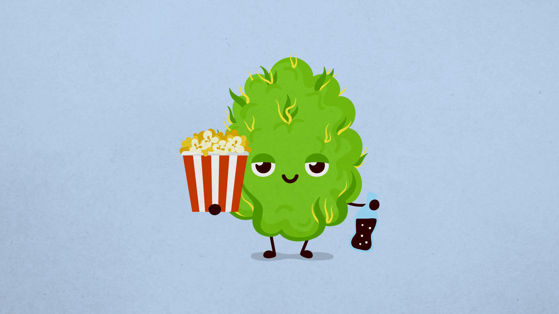 a cannabis nug holding popcorn and a soda