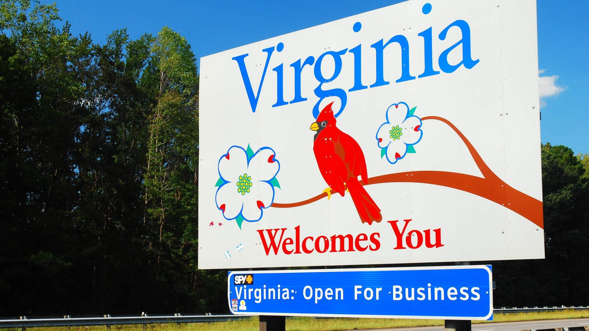 The welcome to Virginia sign
